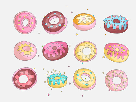 Cute funny Girl teenager colored icon set donuts, fashion cute teen and princess icons. Magic fun cute girls donuts hand draw teens icon collection colored and isolated 스톡 콘텐츠 - 127383824