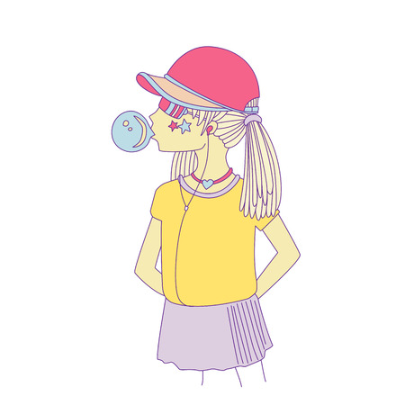Young teen girl in a baseball cap with headphones blowing bubblegum. Little girl vector cartoon hand draw illustration. Teenage girl in bright colors, rebel girl illustration. Pre teen rebel grl isola