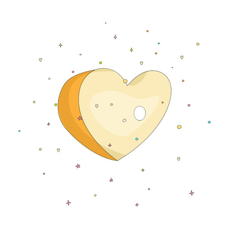 Yellow simple heart icon. Fun cartoon romantic heart with decoration elements on background. Simple heart cartoon icon, symbol of love isolated. 스톡 콘텐츠 - 127339993