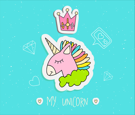 Cute cartoon unicorn with crown vector illustration. Happy uni orn with horn and colored hair, pink uni orn in green cloud with line elements, diamond, heart, like. Magic animals - sleeping uni orn isolated on blue 스톡 콘텐츠 - 127339994