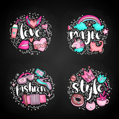 Colored Set of teenage girl icons, cute cartoon teen objects, fun stickers design vector with lettering love, magic, fashion, style icons. Doodle icon set with round decoration on black background