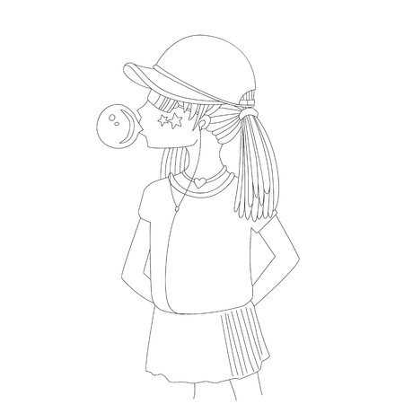 Young teen girl in a baseball cap with headphones blowing bubblegum line icon. Little girl vector cartoon pencil drawing illustration. Teenage girl, rebel girl illustration. Pre teen rebel grl isolate 일러스트