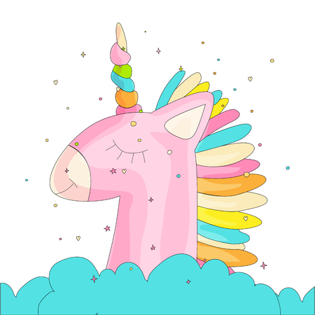 Cute cartoon colored unicorn vector illustration. Cute happy unicorn with horn and colored hair, pink unicorn in bue cloud with decoration elements. Magic animals - sleeping unicorn icon isolated 일러스트