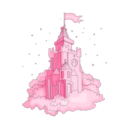 Cartoon medieval fun pink castle with flag and pink grass. Magic cartoon castle for princess from fairy tale icon. Funny pink cartoon castle with decoration background.