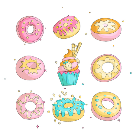 Cute funny Girl teenager colored icon set donuts, fashion cute teen and princess icons. Magic fun cute girls donuts and cupcake hand draw teens icon collection colored and isolated