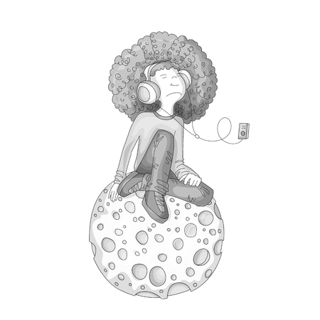 Colorless Vector Illustration of Young redhead Girl with Headphones, sitting on cartoon moon and listening music. Grayscale Teenage young musical girl, rebel girl illustration. Young teen girl isolate