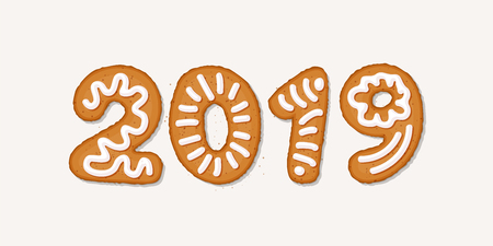 Happy 2019 new year concept with gingerbread cookies, covered in ice-sugar syrup, isolated on white. Christmas holiday cookie letters, cartoon vector illustration. Gingerbread new year and xmas cookie