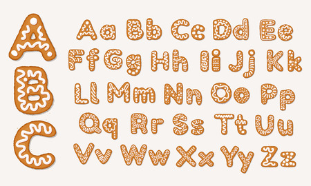 Christmas or New Year gingerbread cookies alphabet, capital letters and lower case alphabet. Set of isolated alphabet covered icing-sugar and syrup. Full English ABC. Vector cartoon illustration isola
