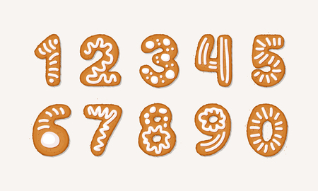 Vector cartoon set of Gingerbread arabic numbers - holidays Christmas ginger cookie isolated on white background. Merry Christmas and Happy New Year numbers cover by icing-sugar, sugar syrop. 일러스트