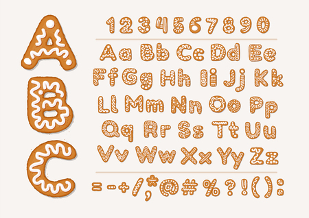 Christmas or New Year gingerbread cookies alphabet with arabic numbers and signs. Set of isolated alphabet, cookie figures, covered icing-sugar on white background. Full English ABC. Vector cartoon illustration 스톡 콘텐츠 - 127257682