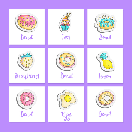 Cute cartoon food square cards with english text. Fun vector stickers set. Doodle set with colored donuts, cupcake, strawberry, lemon, eggs. Set for teenagers with food patch on violet. 스톡 콘텐츠 - 127257683
