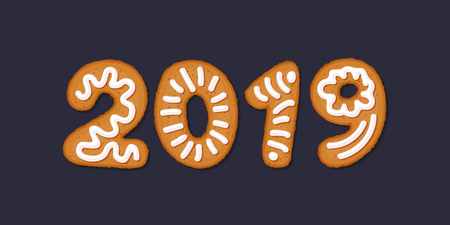Happy 2019 new year concept with gingerbread cookies, covered in ice-sugar syrup, isolated on white. Christmas holiday cookie letters, cartoon vector illustration. Gingerbread new year and xmas cookie, vector. 스톡 콘텐츠 - 127237214
