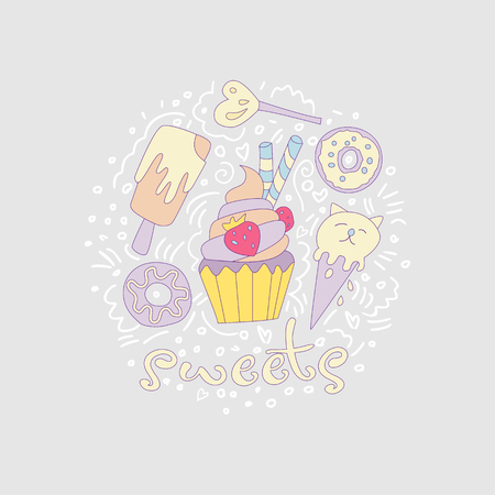 Sweet fun cartoon cupcake with colored frosting and strawberry. Cartoon cupcake icon with decoration elements such as donut, lollipop, ice cream and curved lines. Colored cupcake icon vector on gray. 스톡 콘텐츠 - 127220105