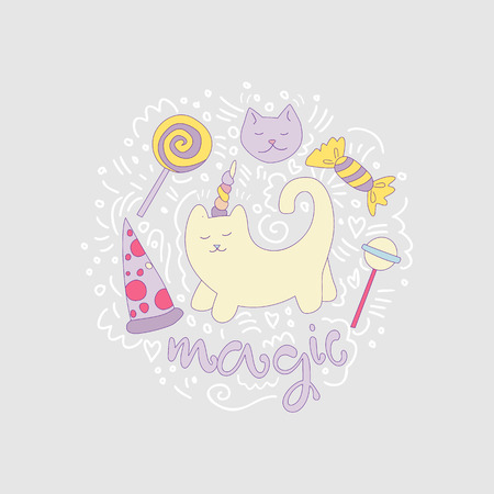 Magical cat vector cartoon fun illustration among curved lines and lollipops, sweets, pizza. Unicorn cat with horn and decorative elements, isolated on gray. Magical animals - cat, unicorn illustratio