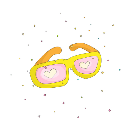 Fun cartoon yellow glasses with pink hearts vector icon. Yellow sunglasses icon with decoration elements on white background. Glasses in cartooning funny style isolated.