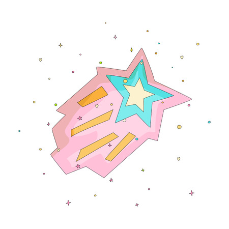 Pink and blue cartoon funny shooting star vector icon. Cartoon icon shooting star with colored decoration on white background. Doodle pink shooting star icon drawing isolated on white background. 일러스트