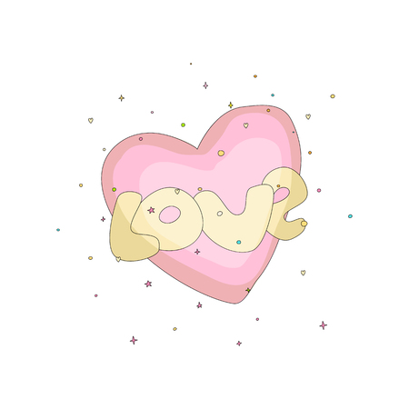 Pink simple heart icon with yellow text love. Fun cartoon romantic heart with decoration elements on background. Simple heart cartoon icon, symbol of love. isolated. 스톡 콘텐츠 - 127208104