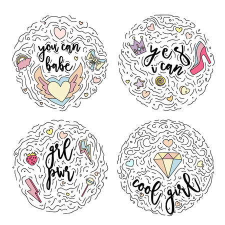 Doodle motivation set text for girls in round form colored. Cute fun vector motivation quote with strawberry, lollipop, lightning, hearts, crown, high heel, rainbow, diamond. Curved lines and cute ico