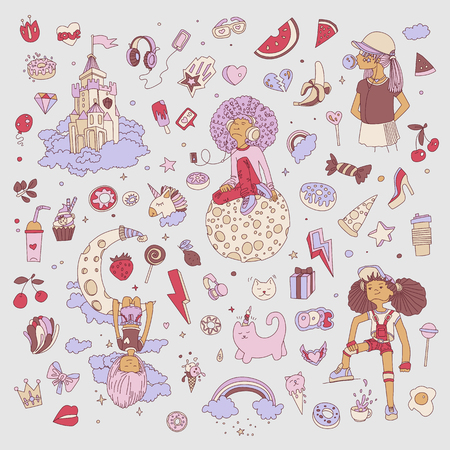Colored Set of teenage girl icons, cute cartoon teen objects, fun stickers design vector in teenager girls concept. Doodle icon set for teenagers. Colored hand drawn pizza, unicorn, sweets  イラスト・ベクター素材