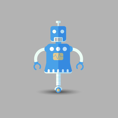 Retro vintage funny vector robot icon in flat style isolated on grey background. Vector vintage illustration of flat Chatbot icon. Customer support service chat bot. Cute cartoon retro robot icon