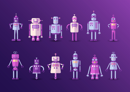 Retro vintage funny vector robot set icon in flat style isolated on violet background. Vintage illustration of flat Chatbot icon collection. Set of Cute cartoon retro robot icons, vintage chat bot set isolated on magenta Illusztráció