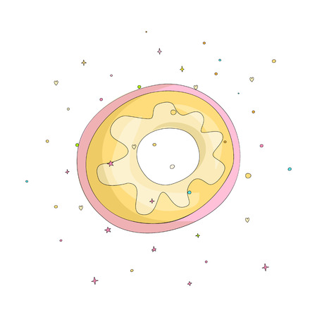 Sweet yellow donut cartoon icon with colorful decoration. Vector icon cartooning tasty donut with hole. Sweet pink round donute with decoration isolated on white background.