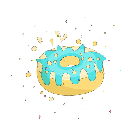 Sweet yellow donut cartoon icon with colorful decoration. Vector icon cartooning tasty donut with hole. Sweet yellow round donute with decoration isolated on white background. 일러스트