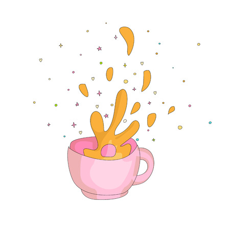 Cartoon spash in a pink cup icon. Drawing splash in a cup of hot tea or coffee. Splash in a cup with decoration elements isolated on white background. 일러스트