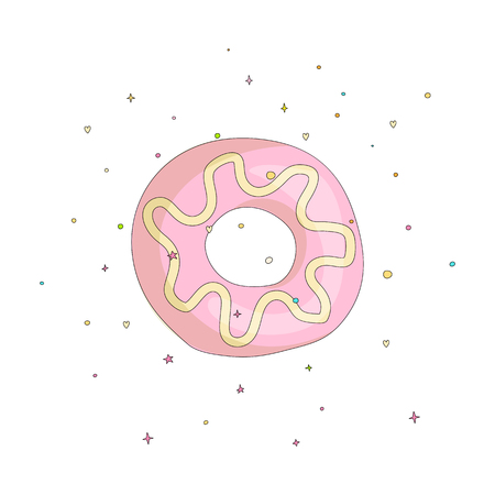 Sweet pink donut cartoon icon with colorful decoration. Vector icon cartooning tasty donut with hole. Sweet pink round donute with decoration isolated on white background. 일러스트