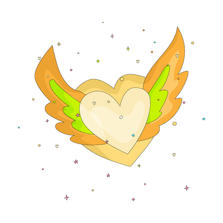 Yellow simple heart with wings icon. Fun cartoon romantic heart with wings and decoration elements on background. Simple heart with wings cartoon icon, symbol of love isolated.