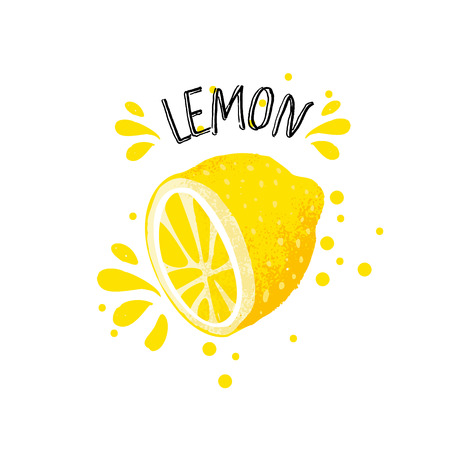 Vector hand draw lemon illustration. Half of lemons with juice splashes isolated on white background. Textured yellow citrus sketch, juice citrus fruit with word Lemon on top. Fresh ripe lemon fruit.