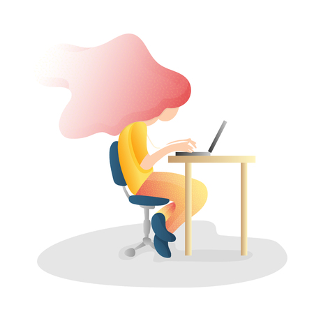 Ergonomic, wrong inorrect sitting Spine Posture. Healthy Back and Posture Correction illustration. Office Desk Posture. Curvature of Spine with Wrong Sitting, bad unhealthy Position when working at PC 일러스트