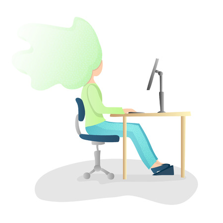 Ergonomic, healthy Correct sitting Spine Posture. Healthy Back and Posture Correction illustration. Office Desk Posture. Curvature of Spine with Good Position sitting when working at Computer, vector