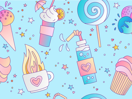 Sweet Positive little girl and princess seamless pattern. Repeatable pattern with hot tea, lolipop, ice cream and cake on blue background, sweet dessert cute seamless pattern. Fashion girl pattern.