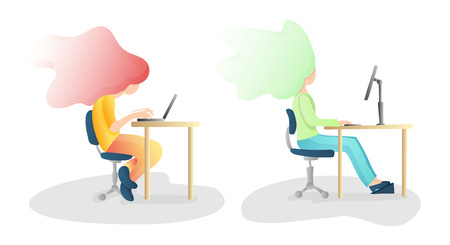 Ergonomic. Wrong and Correct sitting Spine Posture. Healthy Back and Posture Correction illustration. Office Desk Posture. Curvature of Spine with Wrong Sitting, Good Position when working at Computer 일러스트