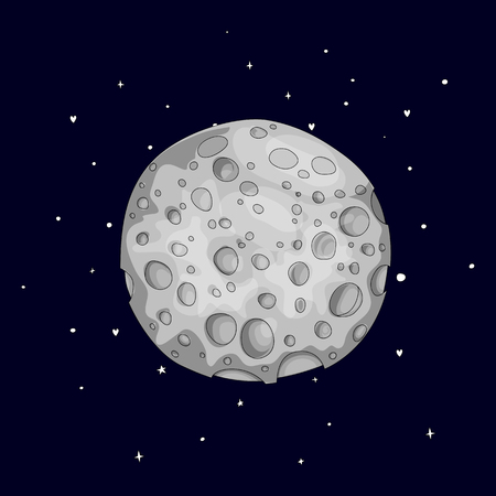 Fun cartoon gray sponge moon icon. Silver magic full moon with decoration elements on black background. Magical gray full moon in dreams vector icon isolated.