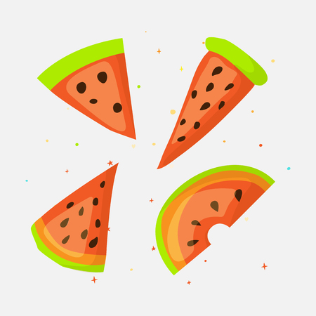 Sweet a slice of watermelon with green skin set on white background cartoon icon. Fun set cartoon a piece of watermelon icon. Set of fresh sweet watermelon cartoon icon isoleted.