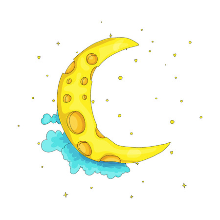 Fun cartoon yellow crescent moon among the clouds icon. Yellow magic crescent moon with decoration on white background. Magical yellow crescent moon in dreams vector icon isolated. 일러스트