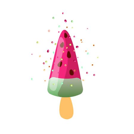 Cute cartoon vector illustration of summer watermelon sundae ice cream with sprinkles, isolated on white background. Summer ice cream sundae dessert, watermelon ice-cream icon. Watermelon ice cream