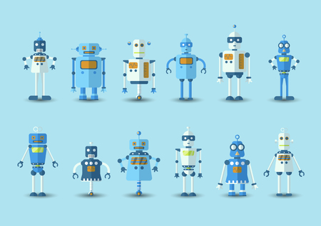 Retro vintage funny vector robot set icon in flat style isolated on blue background. Vintage illustration of flat Chatbot icon collection. Set of Cute cartoon retro robot icons, vintage chat bot set isolated on blue