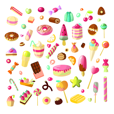 Sweet cartoon candy set. Collection of sweets, cartoon style. Jelly, candy, cakes, sweet donut and marmelade. Set of cartoon doodle form candies and sweets. Lollipop, cotton, donut and striped caramel