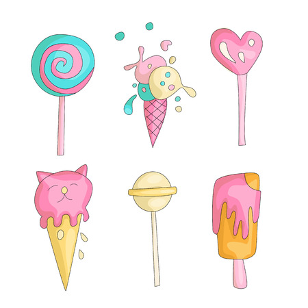 Cute funny Girl teenager colored icon set, fashion cute teen and princess icons. Magic fun cute girls objects - ice cream and lollipops hand draw teens icon collection.