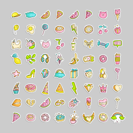 Cute funny Girl teenager colored line icon set, fashion cute teen and princess icons - pizza, unicorn, cat, lollypop, fruits, cutiness and other hand draw line teens icon collection. Magical fun cute girls objects Stock Illustratie