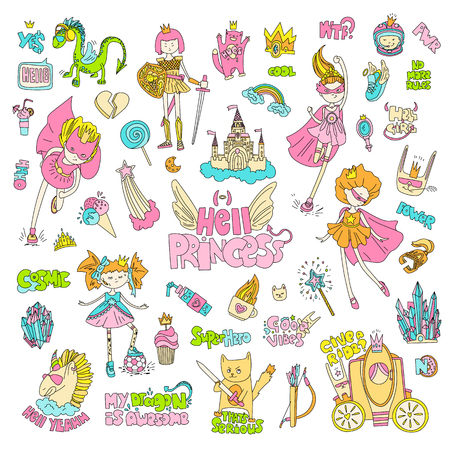 Brave tomboy Hell princess vector cartoon set. Princess magic and feminism illustration, little teen girl, princess superhero and warrior, brave girl illustration. Feminism princesses collection - castle, crown, cat, cocktail Ilustrace