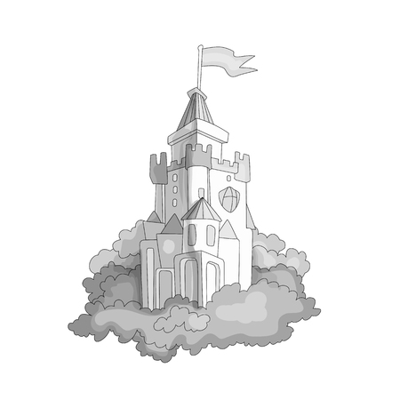 Cartoon medieval fun colorless castle with flag and grass. Magic cartoon castle for princess from fairy tale icon. Funny grayscale cartoon castle with white background.
