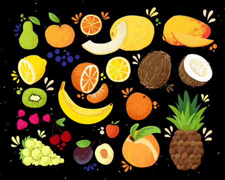 Set of colorful hand draw fruits tropical sweet fruits, and citrus fruit illustration. Apple, pear, orange, banana, pineapple, grapes, lemon, mango. Vector colored sketch illustration, isolated on black. Juicy Fruit and Berries