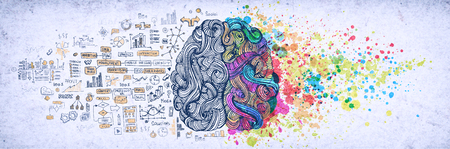 Left right human brain concept, textured illustration. Creative left and right part of human brain, emotial and logic parts concept with social and business doodle illustration of left side, and art paint splashes of the right side Stock Photo