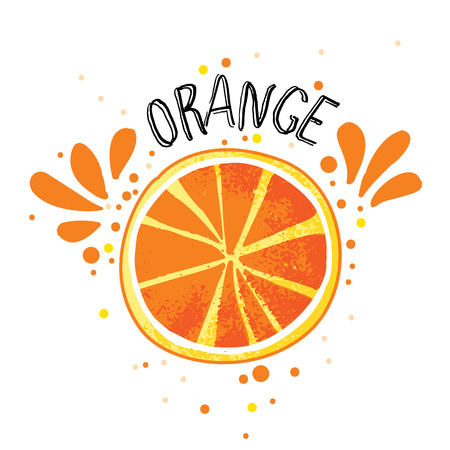 Vector hand draw orange illustration. Slice of orange with juice splashes isolated on white background. Textured orange citrus sketch, juice citrus fruit, word Orange on top. Fresh ripe fruit