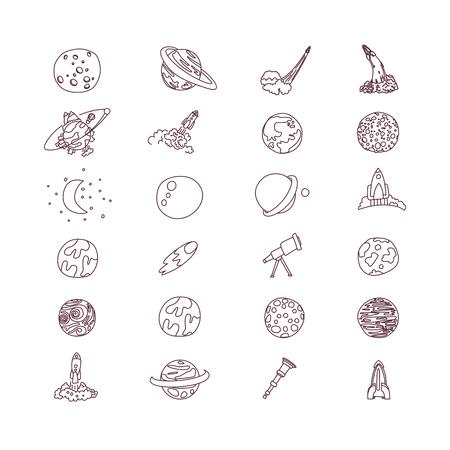 Collection d'icônes vectorielles de dessin animé mignon asrtonaut cosmos espace. Planète, fusée, icônes d'observatoire dans un ensemble mignon, isolé sur fond blanc. Vecteurs