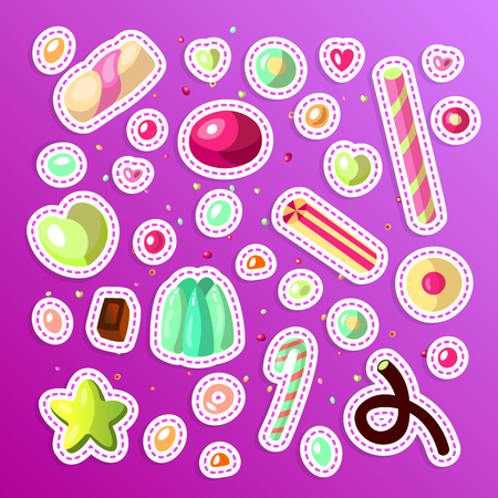 Sweet cartoon candy sticker set. Collection of stickers sweets, cartoon style. Jelly, candy, cakes, sweet donut and marmelade. Set of cartoon doodle form candies and sweets. Lollipop, cotton, donut